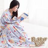 【奶油獅】台灣製造-居家辦公室保暖好物-奶油獅搖滾星星保暖搖粒絨毯-水藍