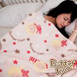 【奶油獅】台灣製造-居家辦公室保暖好物-奶油獅搖滾星星保暖搖粒絨毯-米白