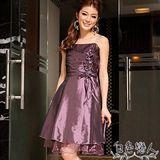 【白色戀人中大尺碼】優雅胸前皺摺玫瑰滾邊氣質小禮服-香檳紫