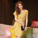【白色戀人中大尺碼】黃色圓領不規則時尚小洋裝