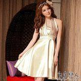 【白色戀人中大尺碼】香檳色優雅緞面高腰繞頸式俏麗小禮服