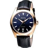 epos 經典光輝時尚機械皮帶腕錶-玫塊金/藍 3411.131.24.16.25FB