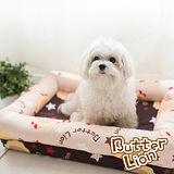 【奶油獅】台灣製造-保暖阻地氣-布套可拆洗-搖滾星星寵物記憶床墊-中(10kg以下適用)-卡其咖啡