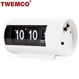 【TWEMCO】機械式 翻頁鐘 復古收藏 圓筒造型 鬧鐘功能 (AP-28 白色)