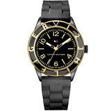 TOMMY HILFIGER 晶漾時尚鋁合金腕錶-黑/橡膠 M1781183