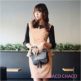 現貨【CHACO韓國】CHICLINE荷葉腰擺配色連身七分袖洋裝CLDA-O-12 粉色ML