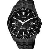 CITIZEN Eco-Drive 衝擊效應五局電波萬年曆腕錶-IP黑 CB0028-58E