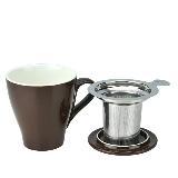 Tiamo 16號陶瓷馬克杯-附杯蓋/濾網組(咖啡色)350cc (HG0760 BR)