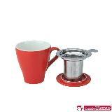 Tiamo 16號馬克杯組【紅色】附杯蓋.不鏽鋼濾網 350cc (HG0760R)
