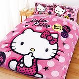 【享夢城堡】HELLO KITTY 搖滾點子法蘭絨毯寢系列-雙人四件式床包被套組