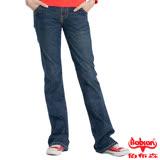 【BOBSON】女款磨破貼口袋伸縮喇叭褲-SS(藍53)