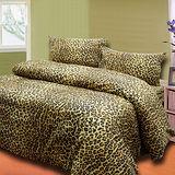 《豹紋品味金》雙人四件式床包被套組台灣製造