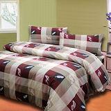 《羽情和風紅》加大四件式床包被套組台灣製造