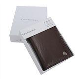 Calvin Klein 素面條紋皮革三折名片短夾-咖啡色