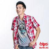 BOBSON 男款格紋短袖襯衫(紅23005-53)
