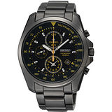 SEIKO 特務保鏢三眼計時腕錶-IP黑/黃時標 7T92-0NK0D