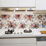 【媽媽樂MAMALOVE】無膠式廚房防水防污快速壁貼 超值6入組(凡爾賽玫瑰)
