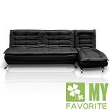 【喬立爾】最愛傢俱-安格斯L型沙發床/椅(黑色)